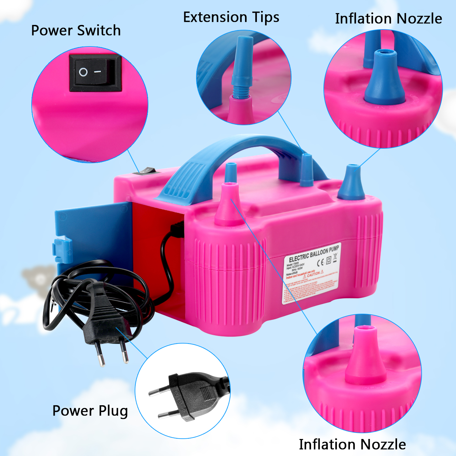 220V-240V Electric High Power Inflating Two Nozzle Air Blower Fast Portable Inflatable Tool Electric Balloon Inflator Pump