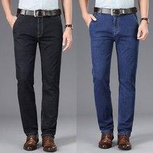 Недавно мода классические мужские джинсы черный синий среднего возраста брюки свободного покроя бизнес Винтаж умные прям отец
