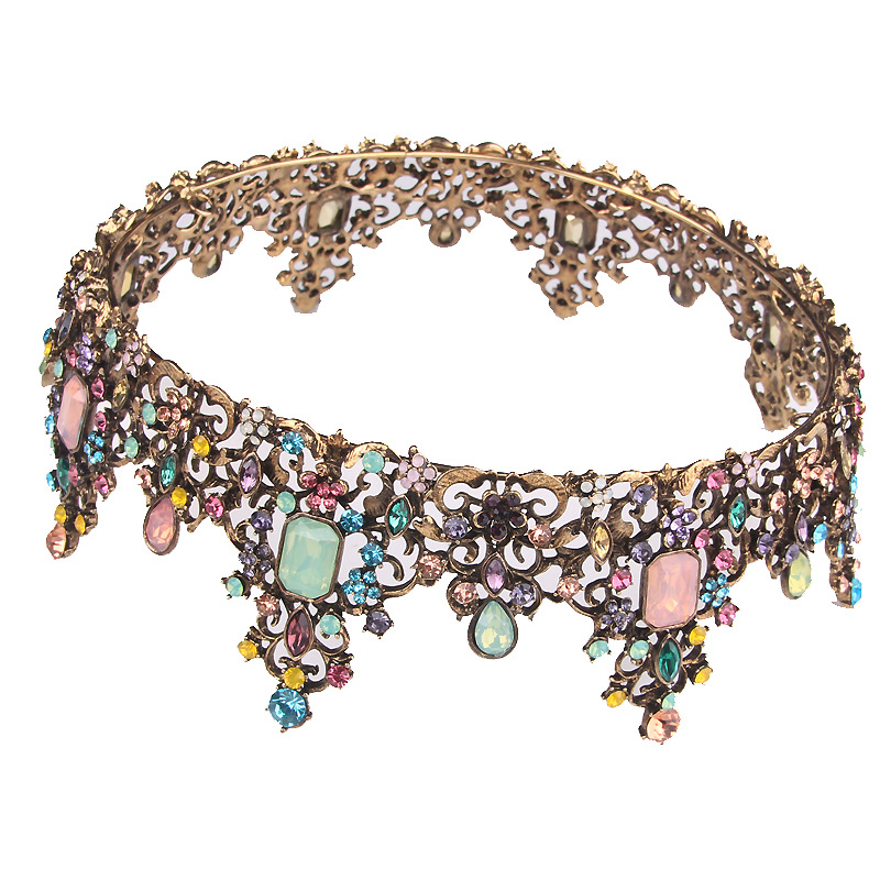 HG2322 Classic large gold colorful rhinestones princess bridal wedding crown tiara luxury alloy wedding headpiece