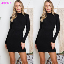 2019 autumn and winter new European and American women's sexy backless Slim bag hip long sleeve round neck dress 2019 autumn and winter new european and american women s round neck long sleeved printed lace slim a line dress