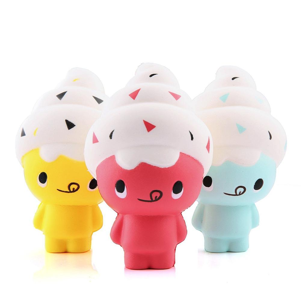 Slow Rising Squishies Rebound New PU Squeeze Simulation Human Head Ice Cream Doll Healing Relieve Stress Toy