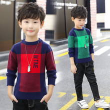 Baby Boy Sweater 2019 Casual Plaid Christmas Pullovers Cotton Boys Clothing for Kids Knitwear Autumn