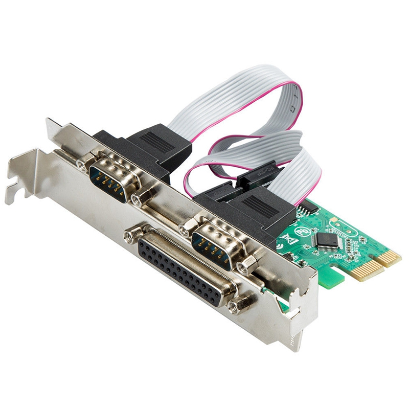 2Port RS-232 Serial Port +1 DB25 Printer Parallel Port Pci-E Pci Card Adapter XR