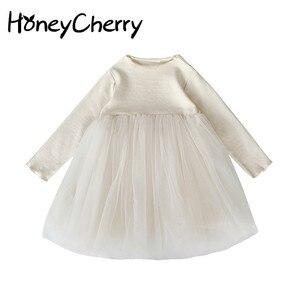 Image 1 - Girlsautumn elbiseler yabancı stil 2020 yeni çocuk prenses Pengpeng elbise ve bebek örgü elbiseler