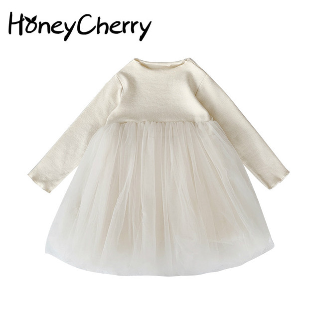 Girlsautumn elbiseler yabancı stil 2020 yeni çocuk prenses Pengpeng elbise ve bebek örgü elbiseler