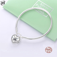 Original PAN 925 Sterling Silver Fantasyland Castle Bracelet Heart Clasp Fit Beads Pendant Female Birthday Gift