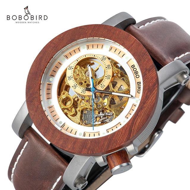 レロジオ Masculino ボボ鳥自動腕時計男性トップブランドの高級機械式腕時計男性 erkek kol saati ドロップシッピングの Oem
