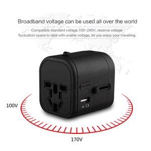 Image 2 - Adaptador de viaje internacional, enchufes multienchufe, 2 fusibles, protección, adaptador Universal, salidas, Cargador USB Dual, puertos de carga tipo C