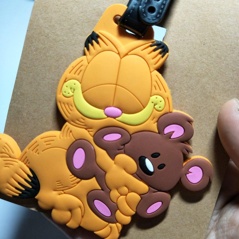 US $3 95 OFF Garfield Hewan Gambar Kartun PVC Gantungan Kunci Fashion Lucu Anime Klasik Kucing Lembut Karet Luggage Tag Boarding Pass Tas Kategori