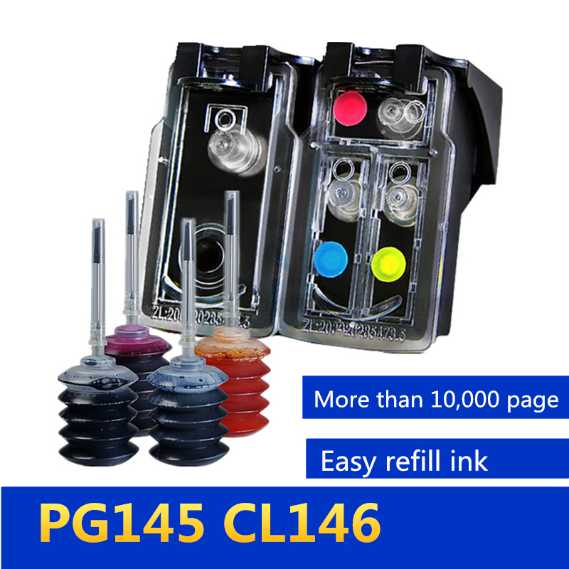 PG145 CL146 Refillable ink cartridge compatible for Canon pixma mg2410 MG2410 MG2510 Inkjet Printer, Free Get 4 color ink image