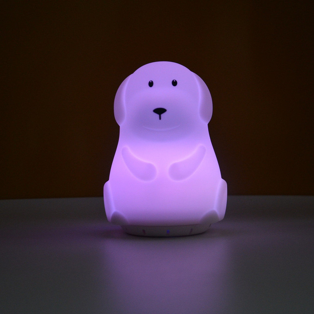 Dog Music Lamp Wireless Bluetooth Speaker Player 9 Colors LED Night Light USB Silicone Puppy Lamp For Children Kids Baby Gift