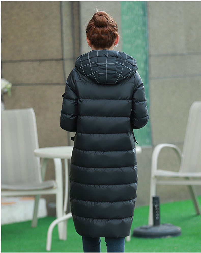 2020 New Fashion White Duck Down Winter Jacket Women Hooded Plaid Long Coats Female Manteau Femme Abrigos Mujer LX360