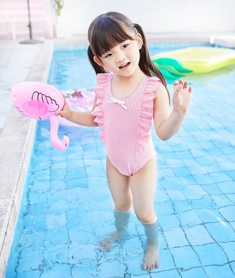 Hot Selling GIRL'S Pink Stripes Bow Princess One-piece KID'S Swimwear Baby Infants Children Swimwear