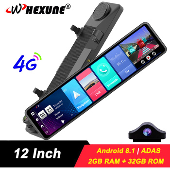 WHEXUNE 12 IPS 4G Rear view mirror camera GPS Android dashcam Navigation ADAS 2G RAM 32G ROM FHD 1080P Car Video Recorder DVR image