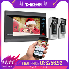 TMEZON 7 Cal bezprzewodowy/WIFI inteligentny wideo IP intercom System z 1 Night Vision Monitor + 2, odporny na deszcz, drzwi aparat telefoniczny