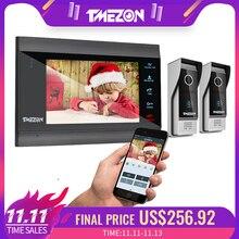 TMEZON 7 inç kablosuz/WIFI akıllı IP Video kapı zili interkom sistemi ile 1 gece görüş monitör + 2 yağmur geçirmez kapı telefon kamera
