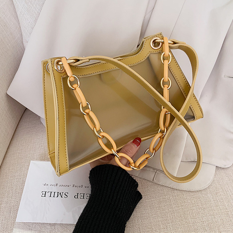DikizFly New Women Handbag Women Shoulder Bag Female Tote Purse PU Leather With PVC Luxury Handbags Chians Clear Bags Summer Bag