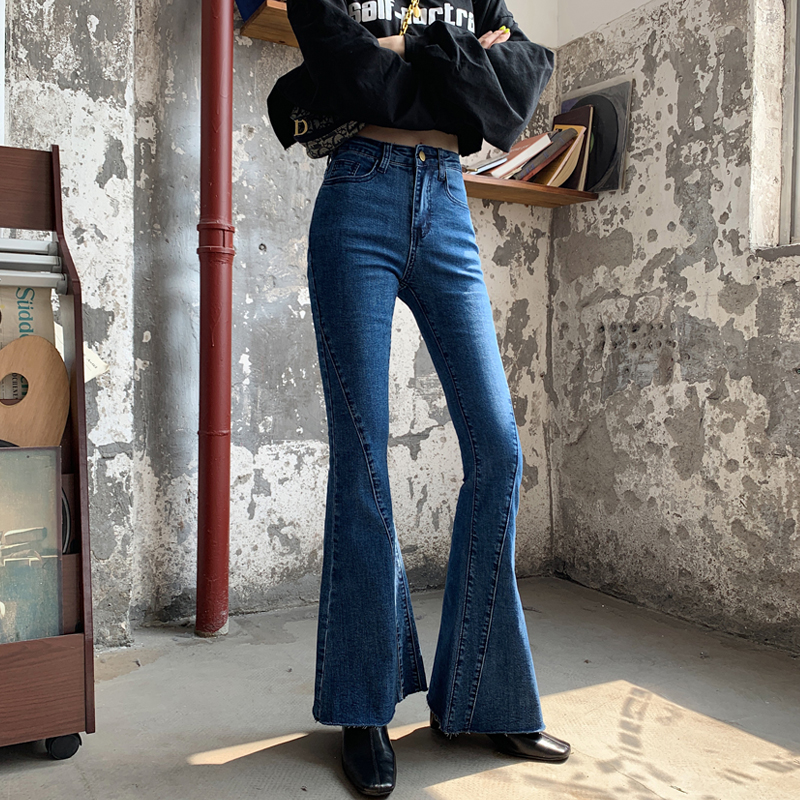 Jeans Fashion Pants Trousers Flare Bottoms Stretching Wide-Leg Bell Autumn High-Waist