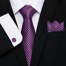 New design  mens high fashion men purple neck tie set handkercheif 8cm width neckties jacquard corbata