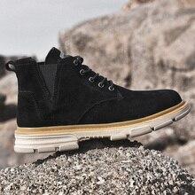 Chelsea Boots Casual-Shoes Platform-Cowboy-Ankle-Man Male Black Winter Mens Coturno Suede