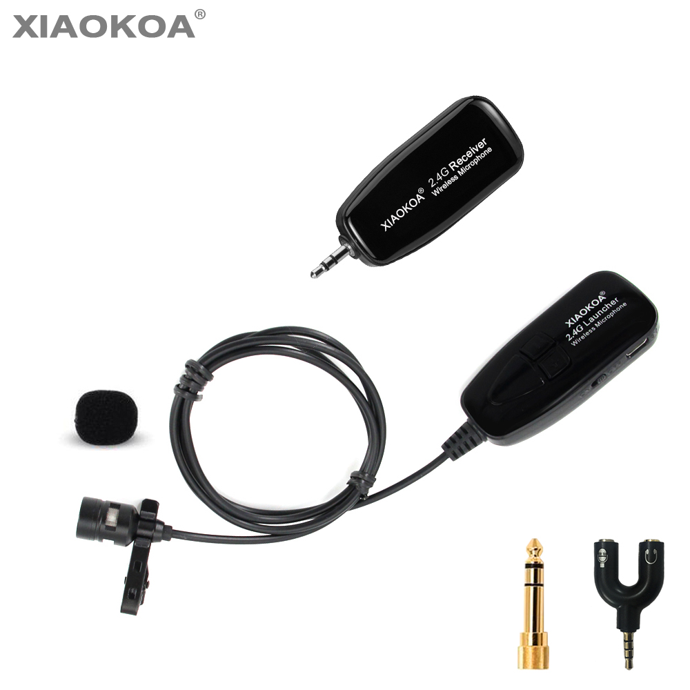 2.4G Wireless Lavalier Microphone for Voice Amplifier Camera Recording Microphones Phone Iphone Android Youtube By XIAOKOA image