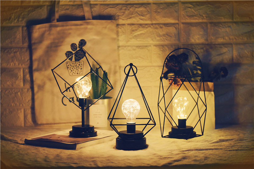 minimalista fio cobre luz da noite criativo