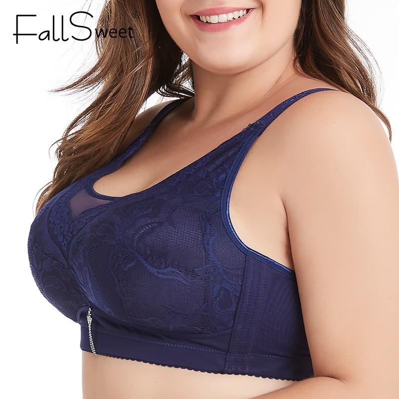 FallSweet seksi kablosuz sutyen artı boyutu dantel iç çamaşırı ince fincan Minimizer Brassiere 34-48 uyku iç çamaşırı