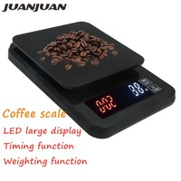 3kg 5kg 0.1g&10kg 1g Mini LCD Digital Drip Coffee Scale with Timer backlight weight Household Electronic Scale Timer 40%off Weighing Scales     -