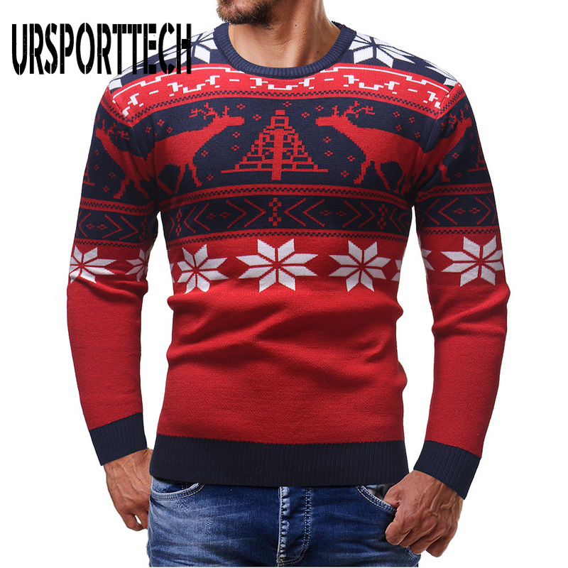 Christmas Sweater Men Deer Printing Pullover Men 2020 Autumn Winter Jersey Jumper Pullover Male O-neck Knitted Slim Fit Sweaters