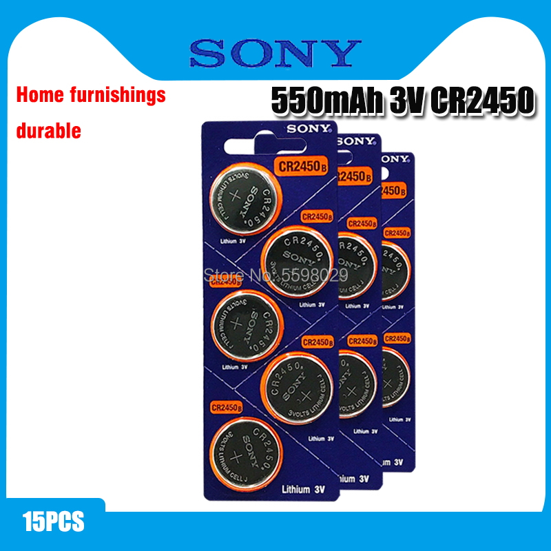 15pcs Original Sony CR2450 Button <font><b>Battery</b></font> 5029LC BR2450 BR2450-1W <font><b>CR2450N</b></font> ECR2450 DL2450 KCR2450 LM2450 For Watch Toy Remote image