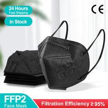 Black FFP2 Mascarilla fpp2 homologada kn95 Masks 5 Layers5-100PCS FFP2 Mask Reusable Protective KN95 negro FPP2 FP3mask