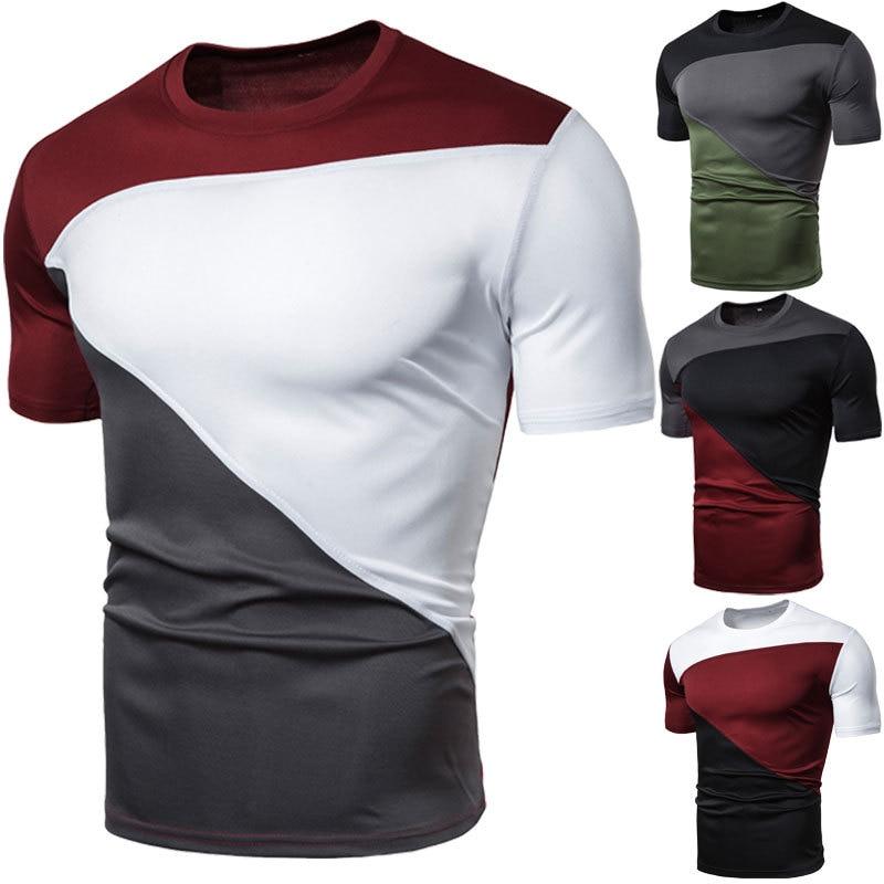 NEW Men's T Shirt Summer Slim Fit Crew Neck T-shirt Men Sports Running Short Sleeve Shirt Casual Tee Tops tshirt Big Size M-3XL