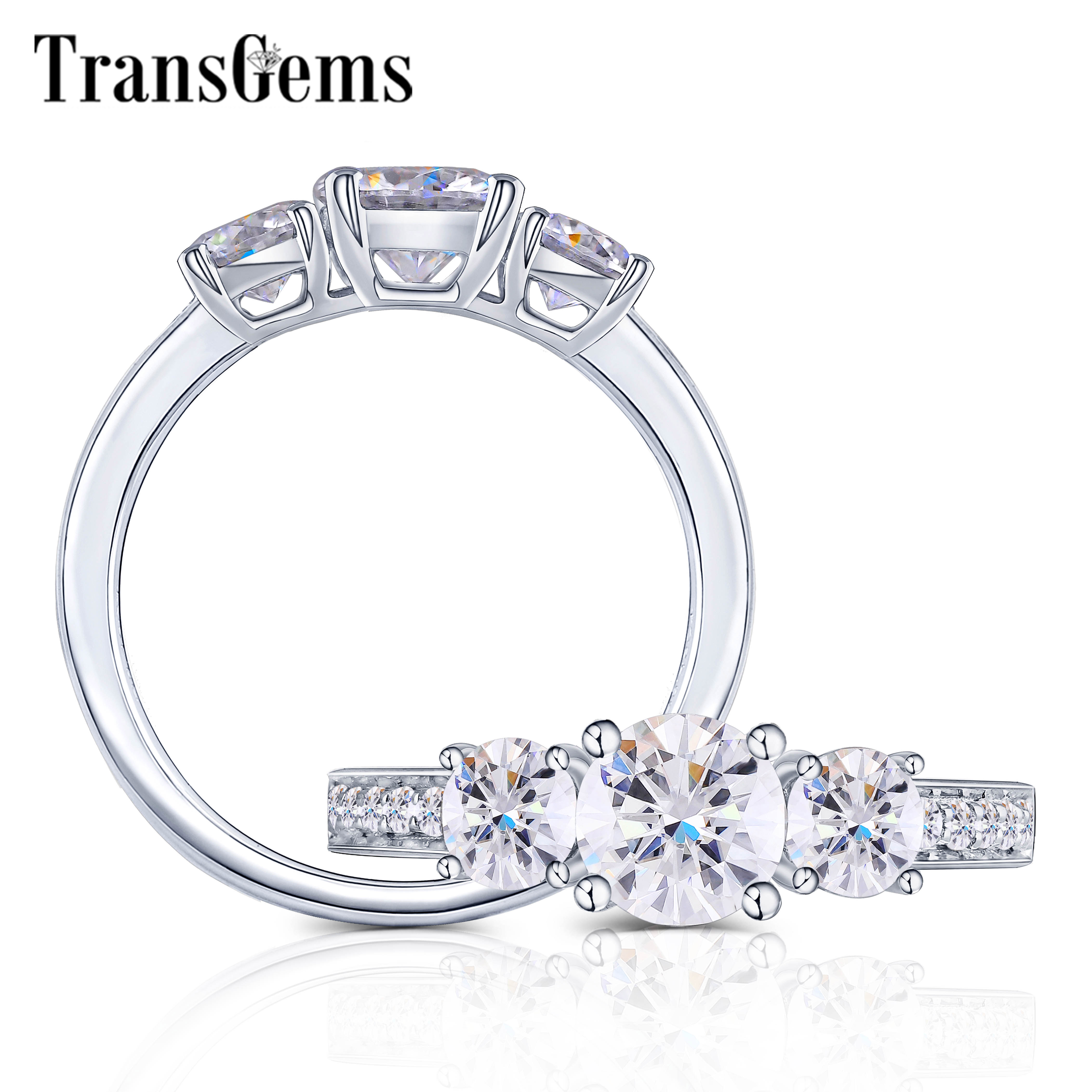TransGems Silver S925 Sterling 3-Stone Ring Center 4mm-5.5mm-4mm Round FG Color Moissanite Anniversary Gifts Fine Jewelry