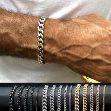 LETAPI New Punk Vintage Silver Color Curb Chain Bracelet Fashion Women Men Stainless Steel Bangles Bracelet