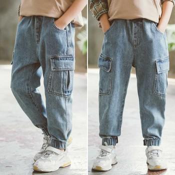 Nowe dżinsy dla chłopców jednolite jeansy spodnie dla chłopców spodnie na rzepy Cargo jeansy dla dzieci chłopiec wiosna jesień Casual ubrania dla nastolatków dla chłopców tanie i dobre opinie HUANG-TAI-ZI Na co dzień Pasuje prawda na wymiar weź swój normalny rozmiar Jeans Pants For Boys Elastyczny pas Chłopcy