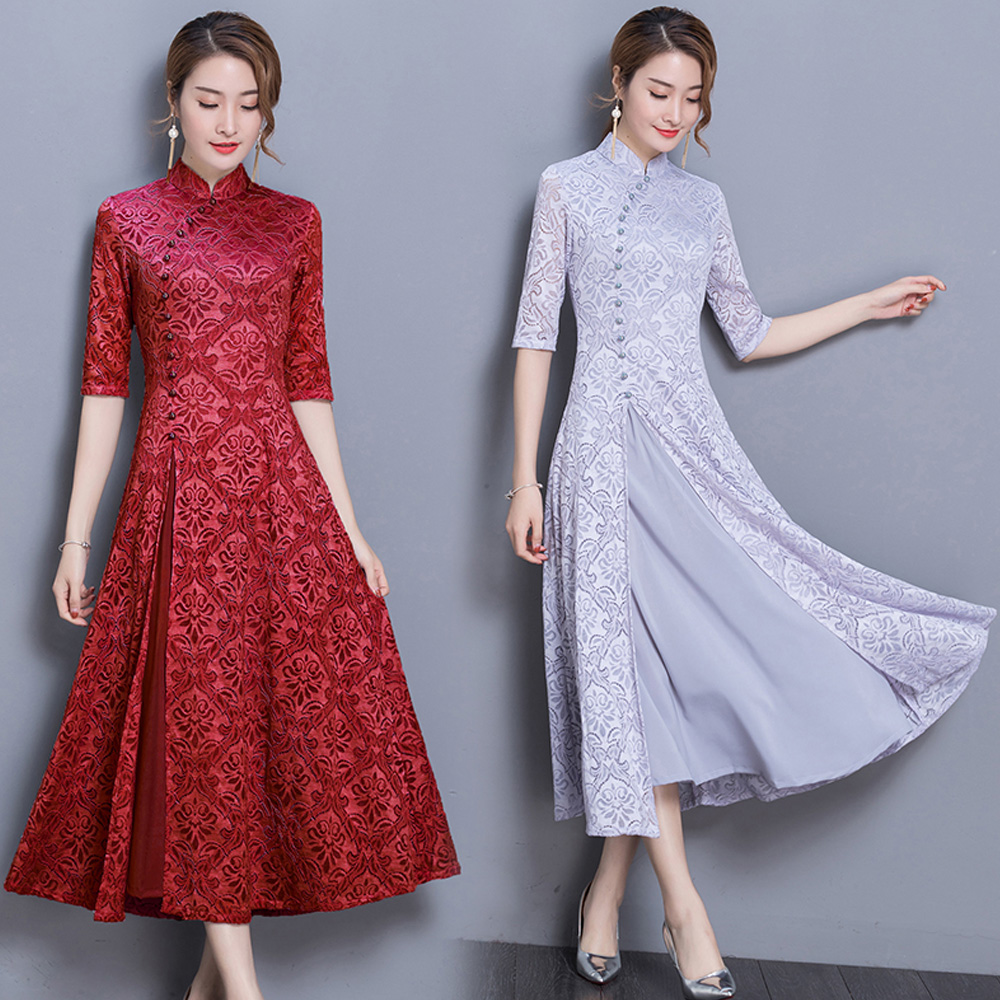 2020 Spring Summer Modern Cheongsam Women Ao Dai Lace Qipao Chinese Dress Long Qi Pao Party Vintage Elegant Dress High Quality