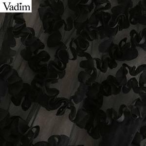 Image 3 - Vadim 女性セクシーな透明なメッシュショートブラウス長袖クロップトップ女性スタイリッシュなパーティークラブシャツ blusas LB543