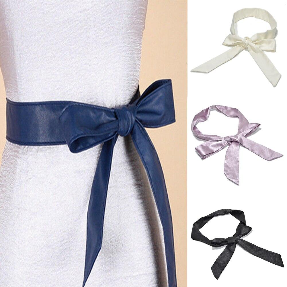 Bowknot Wrap Around Wide Belt Ladies Dress Decor Silk Ribbon Soft Corset Fashion Waistband Self Tie Women Casual Waist Belt
