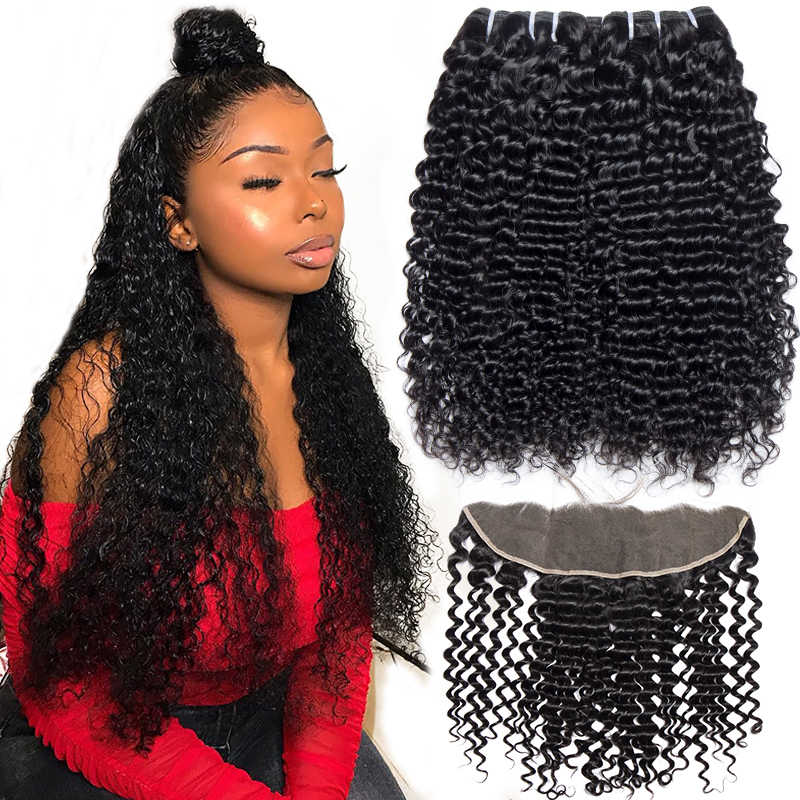 Alibele Deep curly Bundles With Frontal Closure10-28in Malaysia Remy Human Hair 3 Bundles With 13x4 Ear To Ear Frontal Closure