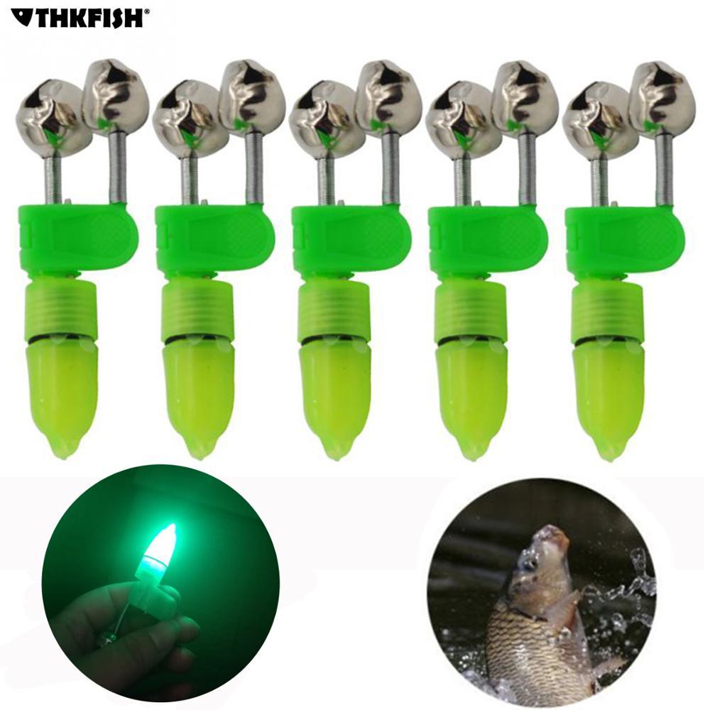 THKFISH 5 Pieces/lot Luminous Sea Fishing Feeder Fishing Bell Twin Rod Tip Fish Bell Alarm Fishing Tackle