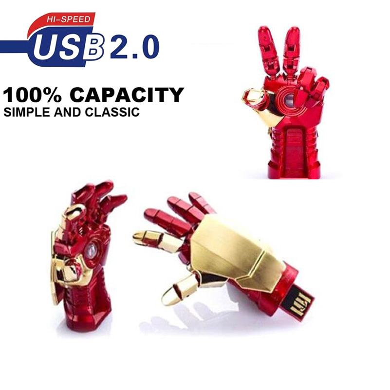 64GB 32GB  Iron Man Hand Memory Stick Avengers USB Flash Drive Marvel/'s Real lot
