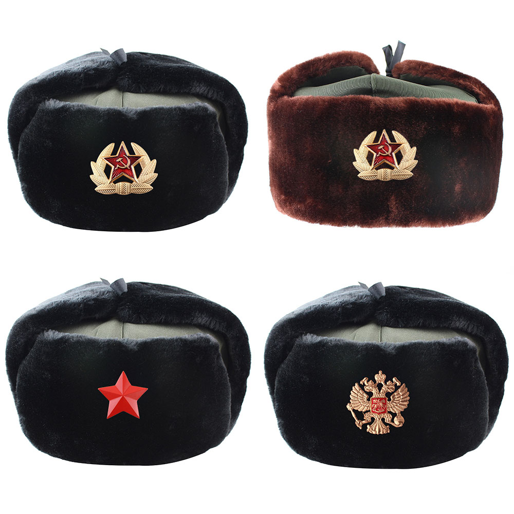 Pilot Hat Police-Hat Snow-Cap Russian Army Military Winter Earmuffs Warm New Men  title=