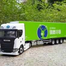Коллекционная модель сплава подарок 1:43 Масштаб Scania S500 Холодильник контейнер грузовик трактор литья под давлением игрушка модель украшения