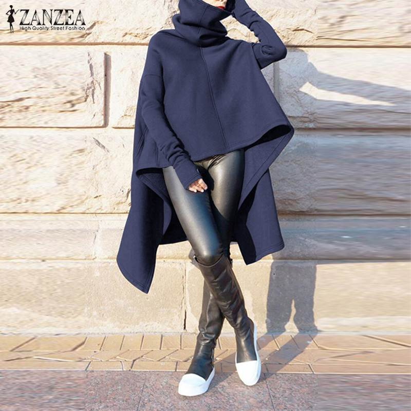 ZANZEA Women's Hoodies Sweatshirts Asymmetrical Hem Pullovers 2020 Autumn Winter Turtleneck Hooded Sweatshirt Sudaderas Tops 7