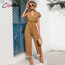 Conmoto solid summer beach women jumpsuits romper casual button lace up wide leg  jumpsuit long pocket playsuit rompers