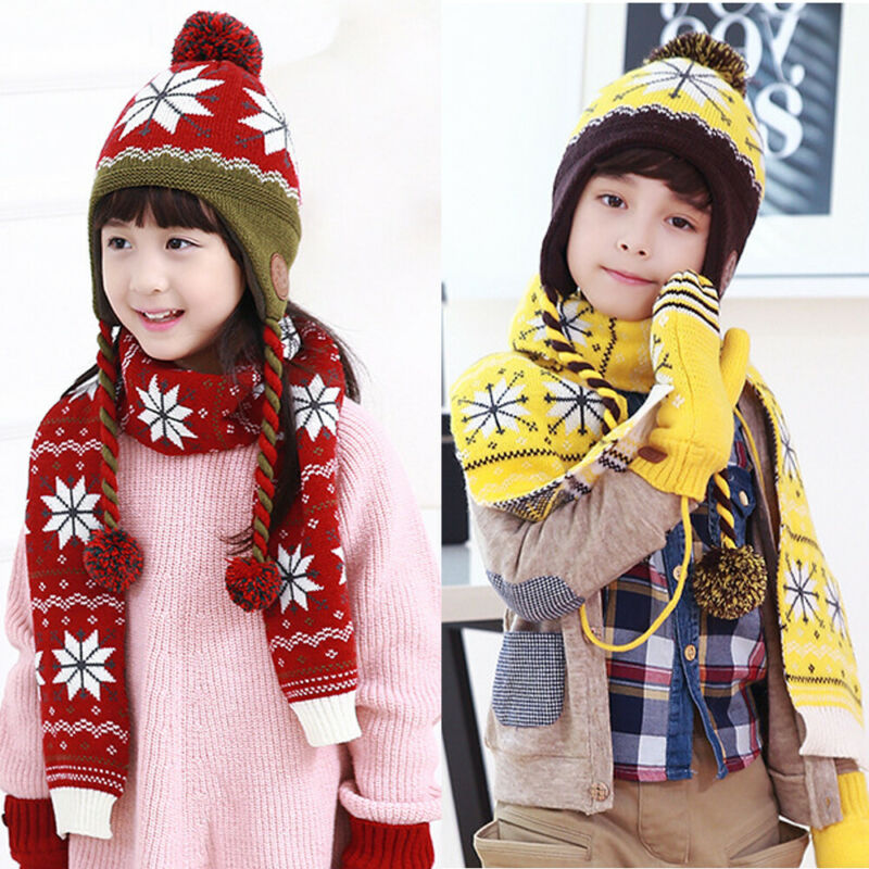2PCS Kids Boys Girls Winter Warm Beanie Hat Pom+Scarf Snowflake Fashion Knitted 4-12 Years