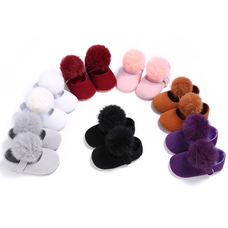LANSHITINA Infant First Walkers Baby Shoes With Pompom Flock Newborn Toddler Shoes Soft Sole Spring Autumn Babies Shoes B94