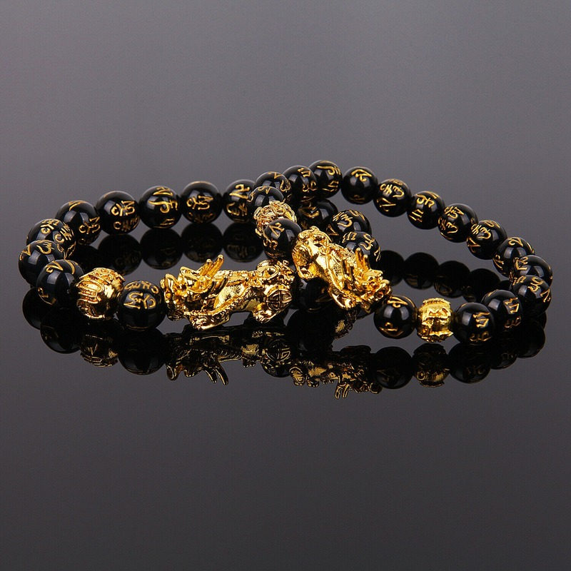 1PC Golden Pixiu Obsidian Bracelet Feng Shui Black Bead Alloy Wealth Bracelet Charm Handmade Lucky Amulet Bracelet Gift