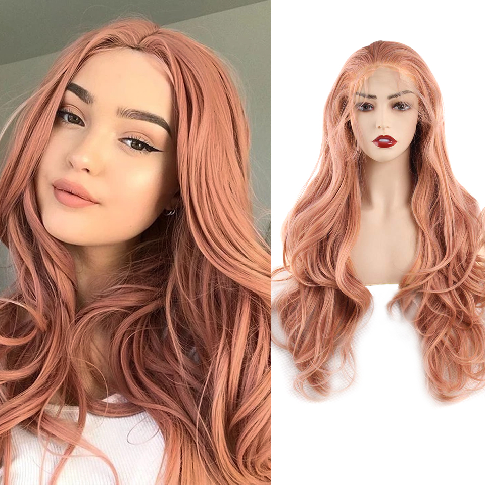 FREEWOMAN Pink Synthetic Lace Front Wig Black Wavy Fake Hair Synthetic Wigs For Woman 24Inch Honey Blonde  Orange Purple Green