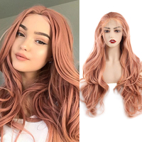 Pink Synthetic Lace Front Wig For Women 24Inch Body Wave Fake Hair Extension Synthetic Wig Heat Resistant Cosplay Blonde Purple